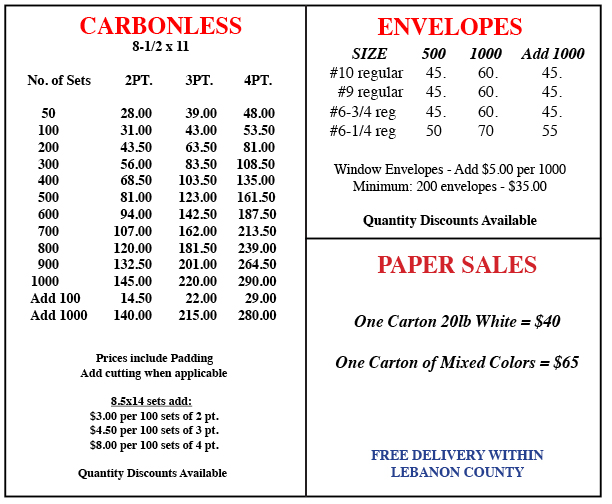 Carbonless and Envelopes Prices